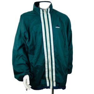 Adidas Windbreaker Mens Rain Jacket Green Sz XL